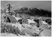 Kennicott historic mine town, late afternoon. Wrangell-St Elias National Park, Alaska, USA. (black and white)