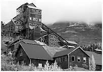 Kennicott historic copper mine and clouds. Wrangell-St Elias National Park, Alaska, USA. (black and white)