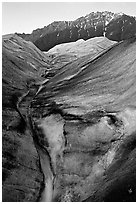 Root Glacier with glacial stream, and mountains. Wrangell-St Elias National Park, Alaska, USA. (black and white)