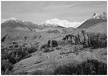Mt Wrangell and Root Glacier moraines seen from Kenicott. Wrangell-St Elias National Park, Alaska, USA. (black and white)