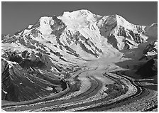 Mt Blackburn and Kennicott glacier seen from Mt Donoho, morning. Wrangell-St Elias National Park, Alaska, USA. (black and white)