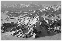 Aerial view of Mt St Elias and Mt Logan. Wrangell-St Elias National Park, Alaska, USA. (black and white)