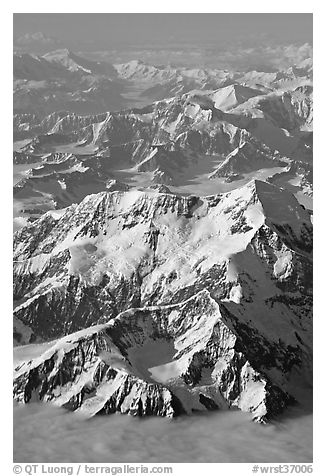 Aerial view of Mount St Elias and Mount Logan. Wrangell-St Elias National Park, Alaska, USA.