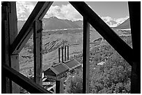 Kennecott power plant and Root Glacier seen from the Mill. Wrangell-St Elias National Park, Alaska, USA. (black and white)
