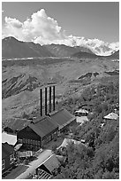 Kennecott power plant, Root Glacier moraines, and Mt Blackburn. Wrangell-St Elias National Park, Alaska, USA. (black and white)