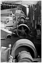 Machinery in the Kennecott concentration plant. Wrangell-St Elias National Park, Alaska, USA. (black and white)
