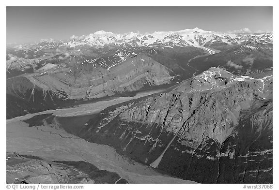 Aerial view of Mile High Cliffs and Chizina River. Wrangell-St Elias National Park, Alaska, USA.