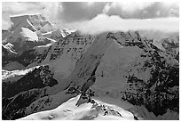 Aerial view of mountain with steep icy faces. Wrangell-St Elias National Park, Alaska, USA. (black and white)