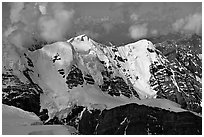 Aerial view of peak with seracs and hanging glaciers, University Range. Wrangell-St Elias National Park, Alaska, USA. (black and white)
