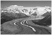 Aerial view of ice bands and moraines of Kennicott Glacier and Mt Blackburn. Wrangell-St Elias National Park, Alaska, USA. (black and white)