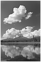 Puffy clouds reflected in lake. Wrangell-St Elias National Park, Alaska, USA. (black and white)