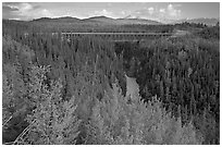 Kuskulana canyon and bridge. Wrangell-St Elias National Park, Alaska, USA. (black and white)