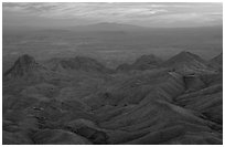 View from South Rim over bare mountains, sunset. Big Bend National Park ( black and white)