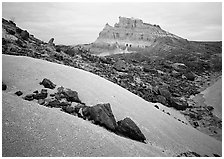 Low white mounds of compacted volcanic ash near Tuff Canyon. Big Bend National Park ( black and white)