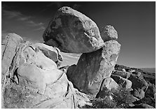 Balanced rock in Grapevine mountains. Big Bend National Park ( black and white)