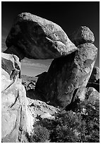 Arch formed by balanced boulder, Grapevine mountains. Big Bend National Park ( black and white)