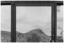 Santiago mountains, Persimmon Gap Visitor Center window reflexion. Big Bend National Park ( black and white)