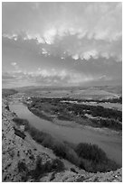 Rio Grande River riverbend and clouds, sunset. Big Bend National Park ( black and white)