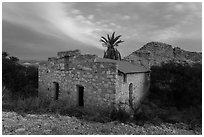 Historic bath house at dusk. Big Bend National Park ( black and white)