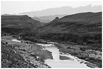 Rio Grande River canyon and Sierra del Carmen. Big Bend National Park ( black and white)