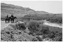 Horsemen and Rio Grande River. Big Bend National Park ( black and white)