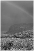Rainbow over desert and Chisos Mountains. Big Bend National Park ( black and white)