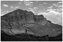 Pena Mountain at sunset. Big Bend National Park ( black and white)