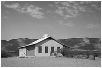 Castolon house and Sierra Ponce Mountains. Big Bend National Park ( black and white)
