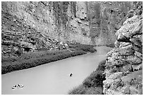 Rafters in Santa Elena Canyon of the Rio Grande. Big Bend National Park ( black and white)