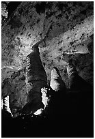 Hall of Giants with six stories tall formations. Carlsbad Caverns National Park, New Mexico, USA. (black and white)