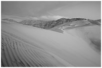 Eureka Dunes, tallest in the park, dusk. Death Valley National Park, California, USA. (black and white)