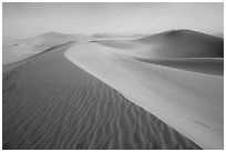 Mesquite Sand Dunes during a sandstorm. Death Valley National Park, California, USA. (black and white)