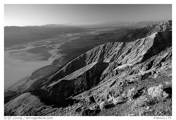 Dante's view, sunset. Death Valley National Park (black and white)