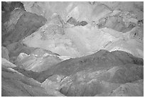 Colorful mineral deposits in Artist's palette. Death Valley National Park, California, USA. (black and white)