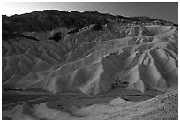 Zabriskie point at dusk. Death Valley National Park, California, USA. (black and white)