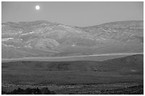 Moonrise over the Panamint range. Death Valley National Park ( black and white)