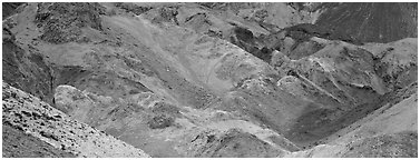 Multicolored rocks, artist's palette. Death Valley National Park (Panoramic black and white)