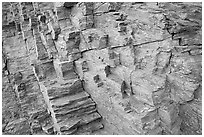Polyedral rock patterns, Mosaic canyon. Death Valley National Park ( black and white)