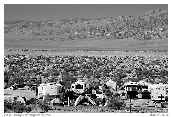 Campground and RVs at Furnace creek. Death Valley National Park, California, USA.