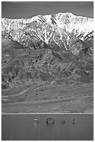 Telescope Peak, seasonal lake with dragon. Death Valley National Park, California, USA. (black and white)
