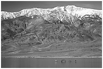 Telescope Peak, rare Manly Lake with dragon. Death Valley National Park, California, USA. (black and white)