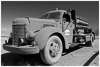 Firetruck at Stovepipe Wells. Death Valley National Park, California, USA. (black and white)