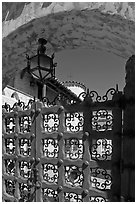 Gate, lamp, and arch, Scotty's Castle. Death Valley National Park, California, USA. (black and white)
