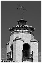 Tower and weathervane, Scotty's Castle. Death Valley National Park, California, USA. (black and white)