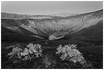 Ubehebe Crater at twilight. Death Valley National Park, California, USA. (black and white)