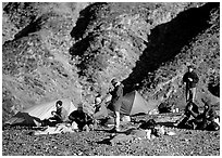 Group at backcountry camp. Death Valley National Park, California, USA. (black and white)