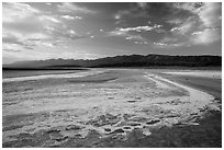 Dried rivers of salt, Cottonball Basin. Death Valley National Park ( black and white)