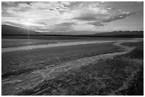 Rivers of salt and sunset, Cottonball Basin. Death Valley National Park ( black and white)