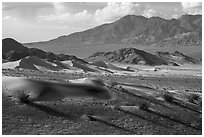 Ibex Dunes and mountains. Death Valley National Park ( black and white)