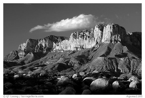 Boulders, El Capitan, and Guadalupe Range, sunset. Guadalupe Mountains National Park, Texas, USA.